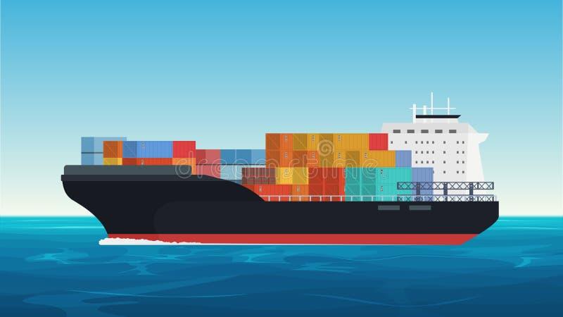 Vectorvrachtschip met containers in de oceaan Levering, vervoer, verschepend vrachtvervoer vector illustratie