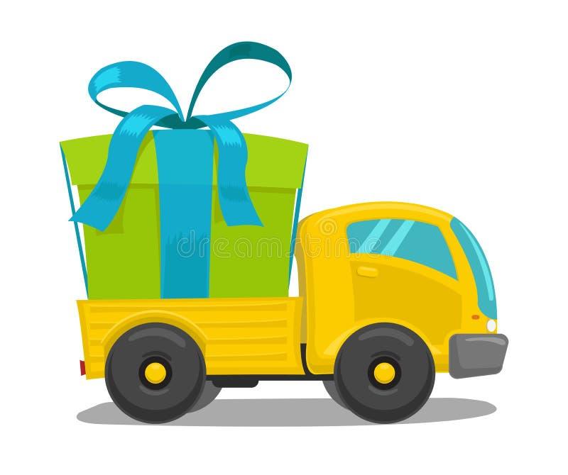Vectorvrachtwagen met giftdoos royalty-vrije illustratie
