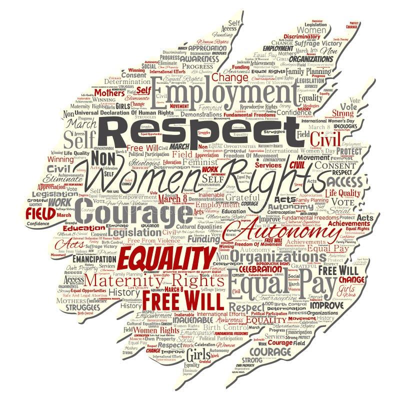Vectorvrouwenrechten, gelijkheid, vrij-wil vector illustratie