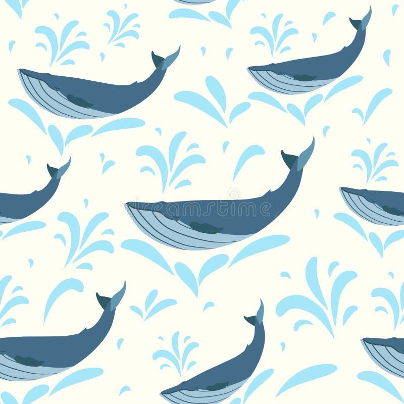 Vectorwalvisillustratie Zwemmende leuke walvissen naadloze achtergrond voor druk of Web Walvissenpatroon stock illustratie