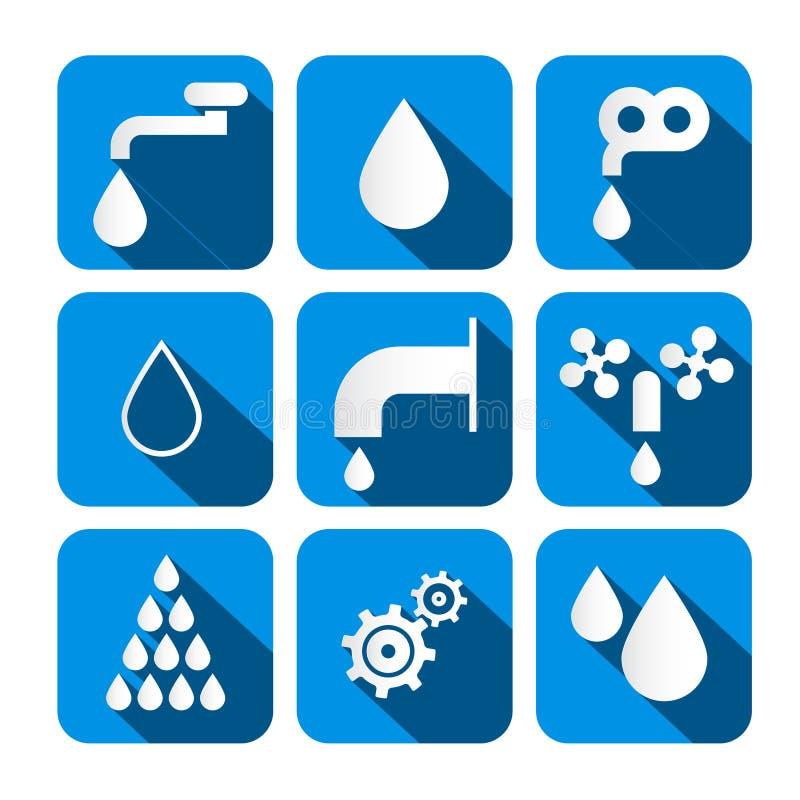 Vectorwaterknopen - Symbolen - Geplaatste Pictogrammen royalty-vrije illustratie