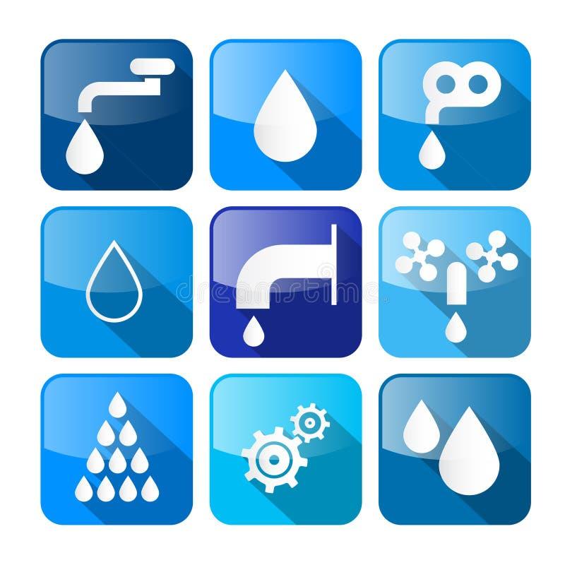 Vectorwaterknopen - Symbolen - Geplaatste Pictogrammen stock illustratie