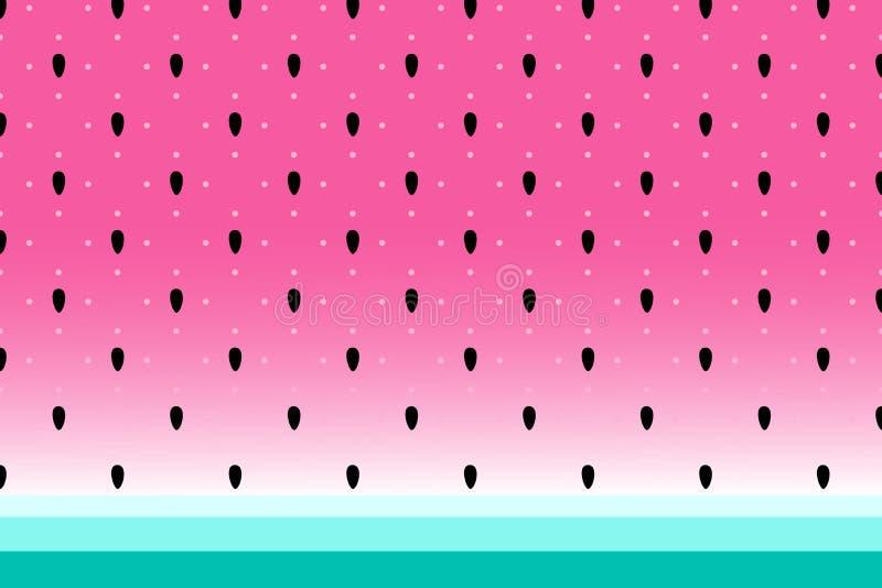 Vectorwatermeloenachtergrond met zwarte zaden en stippen vector illustratie