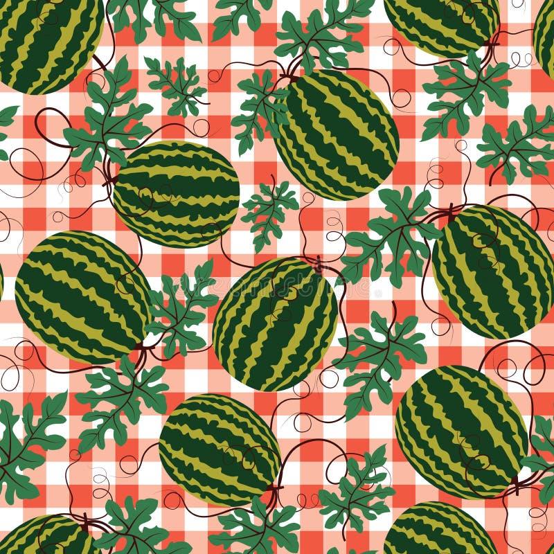 Vectorwatermeloenpatroon op rode geruite achtergrond De zomerfruit stock illustratie