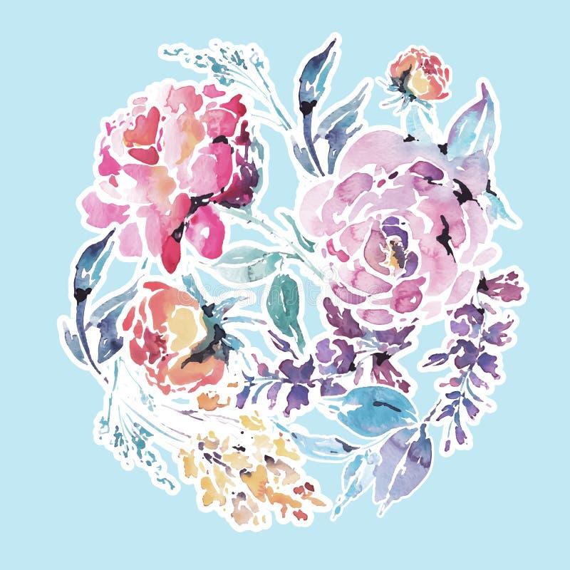 Vectorwaterverf bloemen rond kader van rode rozen royalty-vrije illustratie