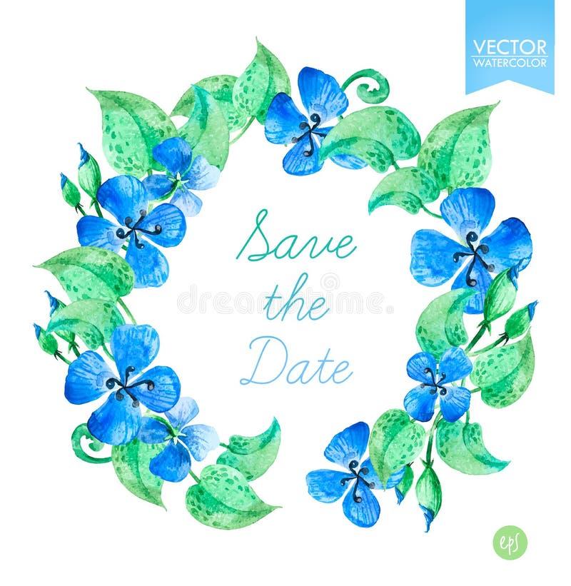 Vectorwaterverf bloemenkronen met blauwe de zomerbloemen Sparen het Datummalplaatje vector illustratie
