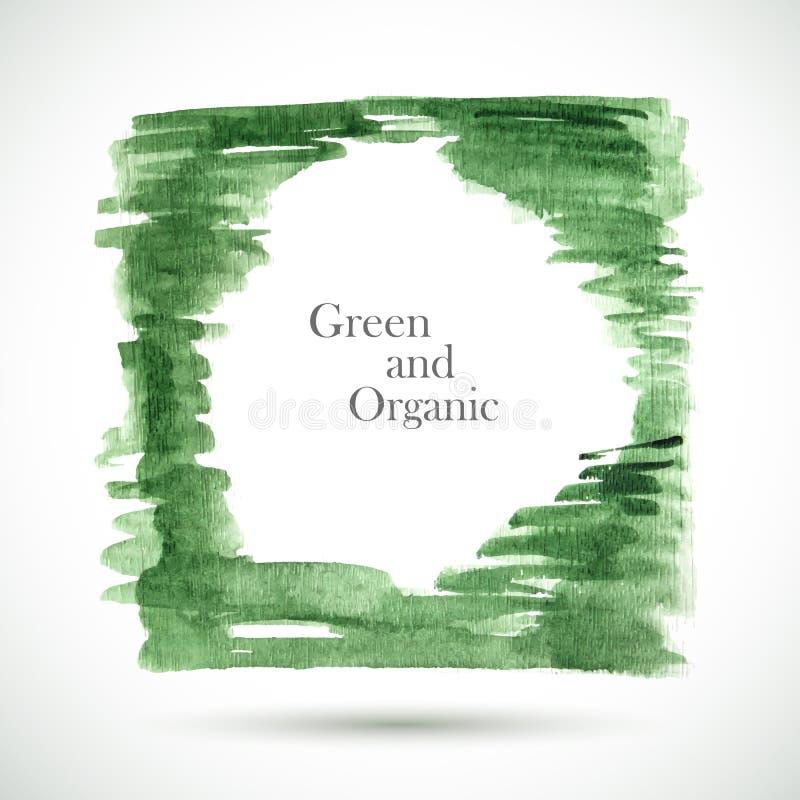 Vectorwaterverf groen kader royalty-vrije illustratie
