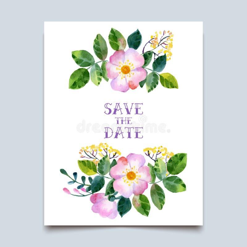 Vectorwaterverf kleurrijke bloemen met de zomer royalty-vrije illustratie
