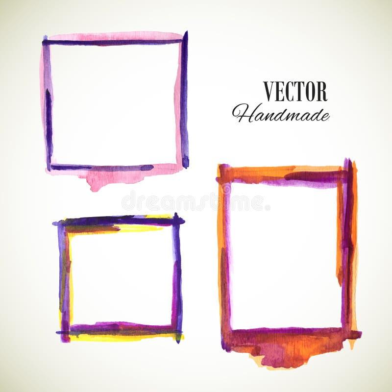 Vectorwaterverf met de hand gemaakt kader Vectorteken Vector kleurrijk v vector illustratie