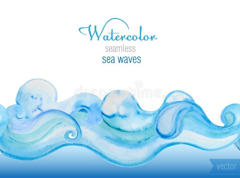 Vectorwaterverfachtergrond Horizontaal naadloos vectorgeklets royalty-vrije illustratie