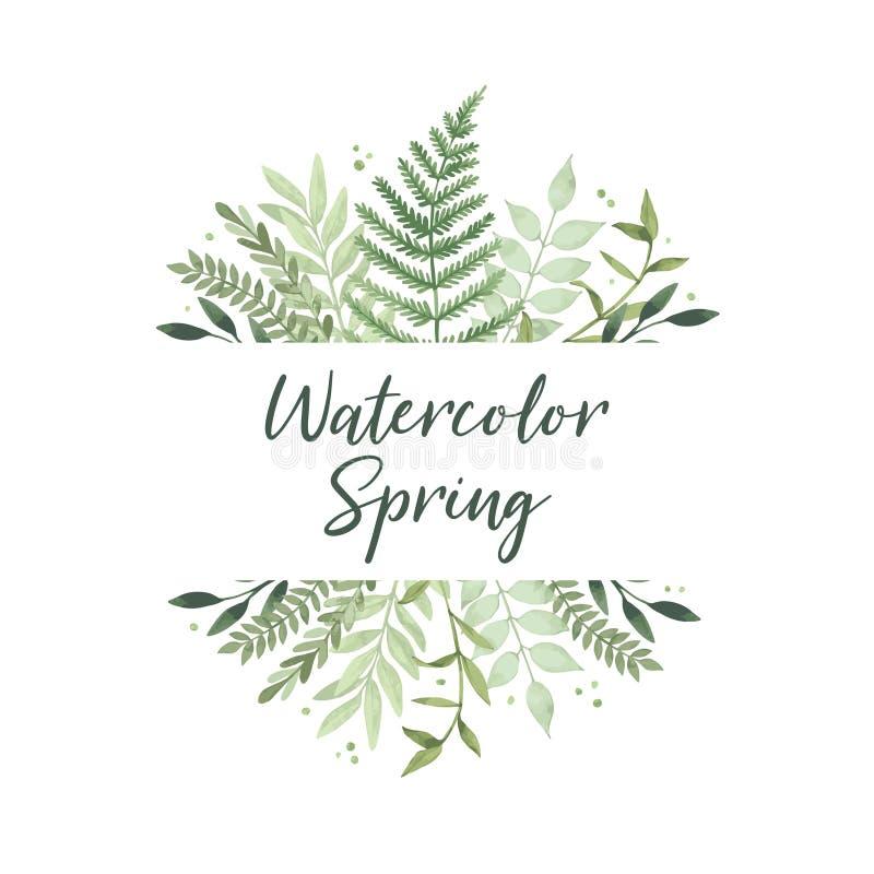 Vectorwaterverfillustratie De lente komt Botanische fram stock illustratie