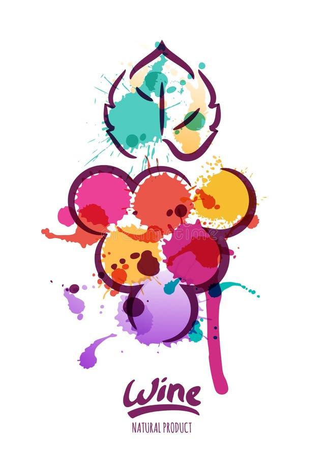 Vectorwaterverfillustratie van kleurrijke wijnstok royalty-vrije illustratie
