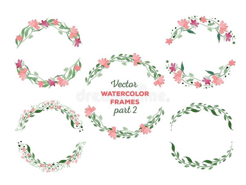Vectorwaterverfkronen en afzonderlijke bloemen royalty-vrije illustratie