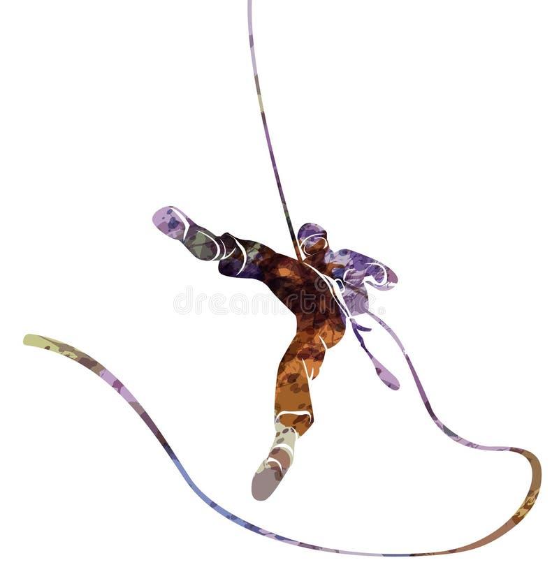 Vectorwaterverfsilhouet van een klimmer abseil vector illustratie