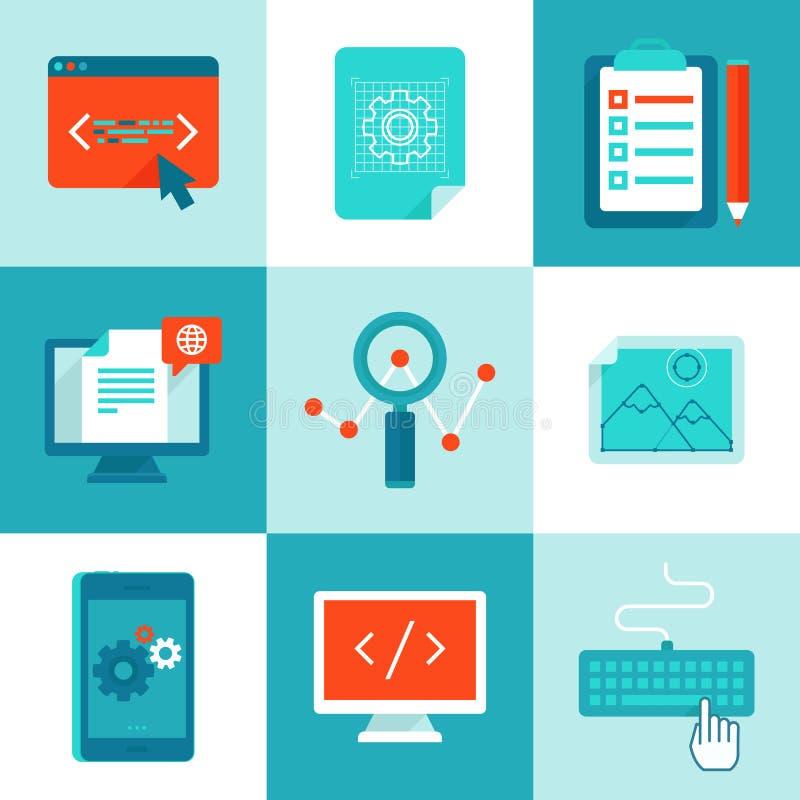 Vectorweb ontwikkeling en programmeringspictogrammen in vlakke stijl vector illustratie