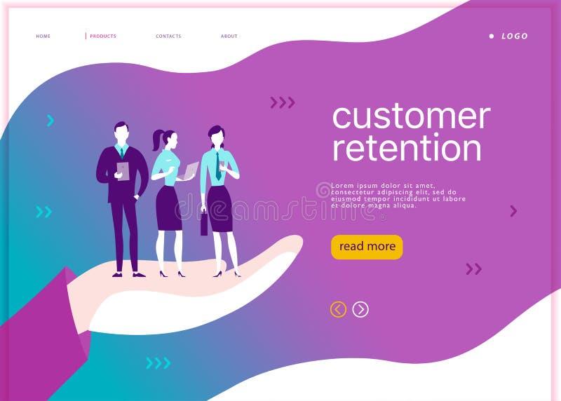 VectorWeb-pagina conceptontwerp - het thema van het klantenbehoud De bureaumensen met mobiel apparaat bevinden zich op grote mens royalty-vrije illustratie
