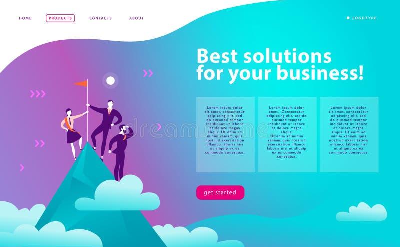 VectorWeb-pagina ontwerpmalplaatje - bedrijfsoplossingen, het raadplegen, marketing, steunconcept De mensen die zich op berg bevi royalty-vrije illustratie