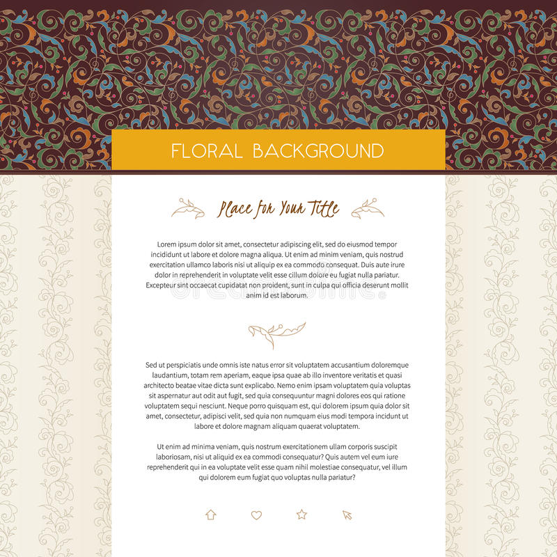 VectorWeb-pagina ontwerpmalplaatje in bloemenstijl royalty-vrije illustratie