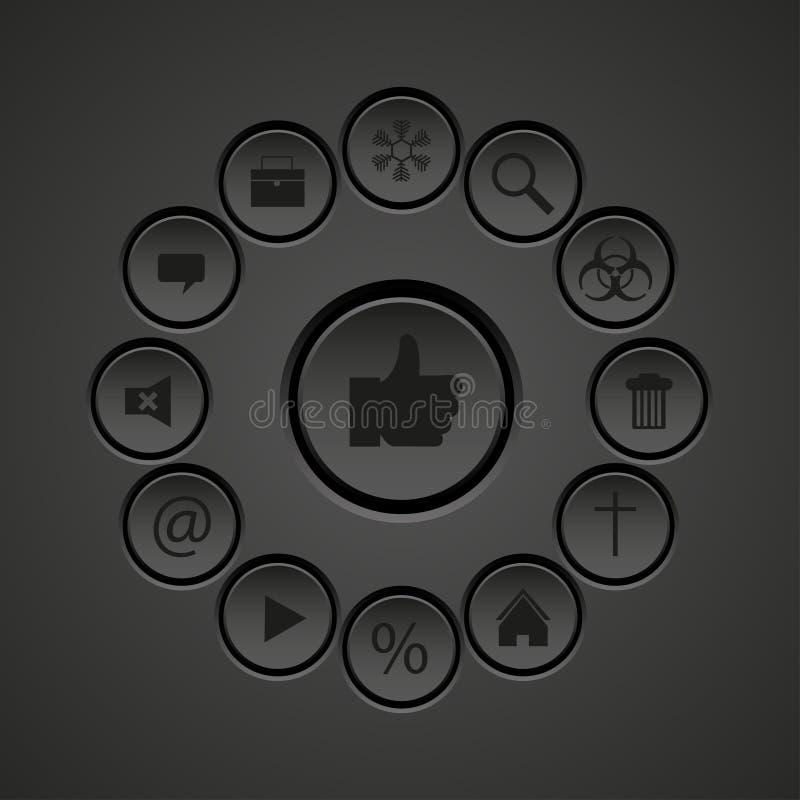 Vectorweb zwarte pictogrammen geplaatst element vector illustratie
