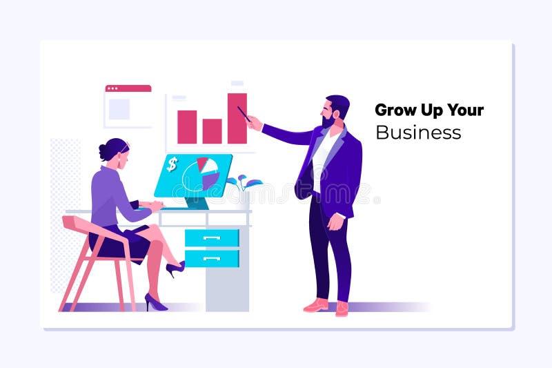 Vectorwebpaginaontwerpsjabloon van Bedrijfsontwikkeling aan succes en groeiend de groeiconcept stock illustratie