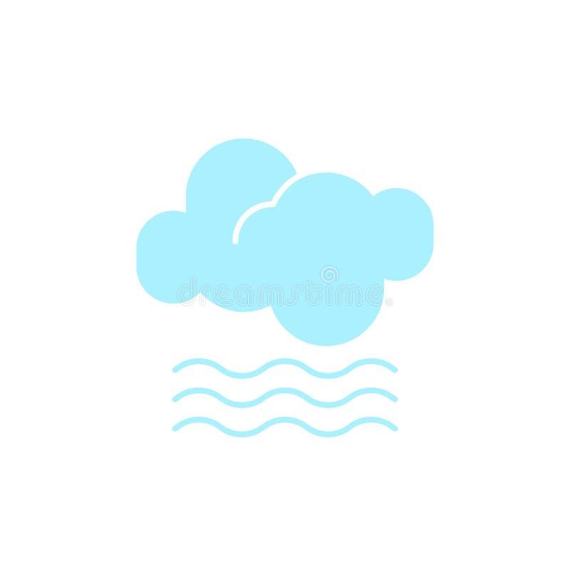 Vectorweerpictogram van een blauwe wolk met mist om de nevelige voorspelling en het huidige klimaat buiten te tonen stock illustratie