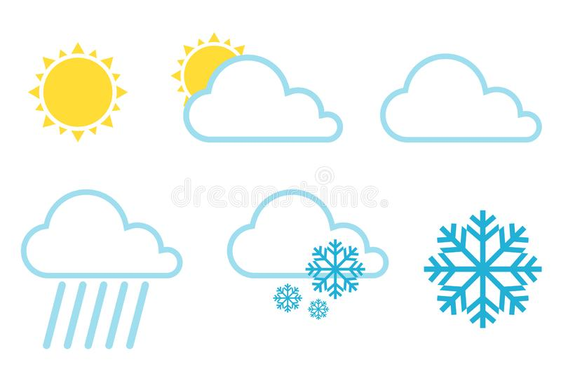 Vectorweervoorspellingspictogrammen Weerpictogrammen geplaatst kleur eenvoudige vlakke symbolen die op witte achtergrond worden g stock illustratie