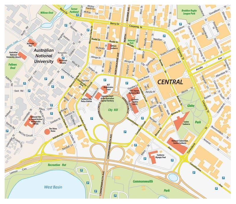 Vectorwegenkaart van centraal Canberra, Australië vector illustratie