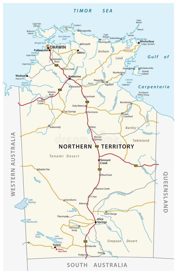 Vectorwegenkaart van het Noordelijke Grondgebied, Australië royalty-vrije illustratie