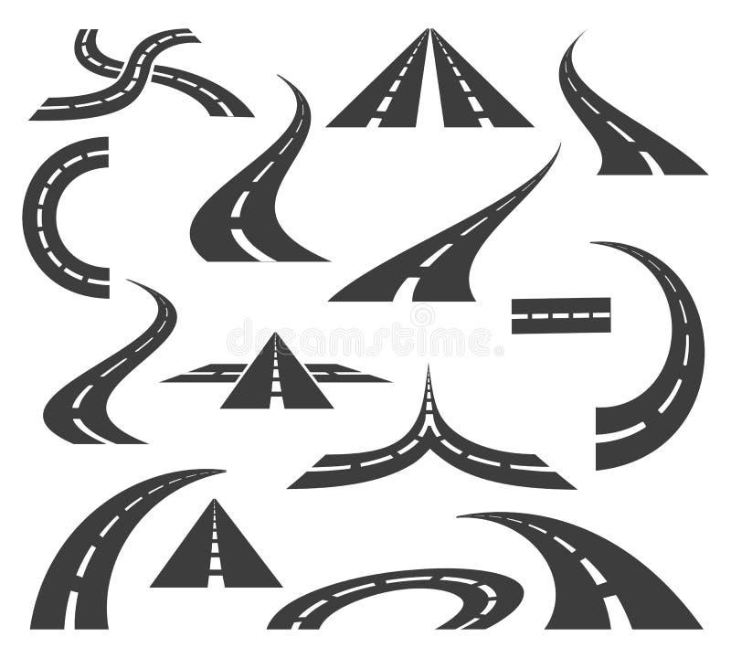 Vectorwegpictogrammen De wegen en de wegentekens voor reisreis brengen motie in kaart op witte achtergrond wordt geïsoleerd die royalty-vrije illustratie