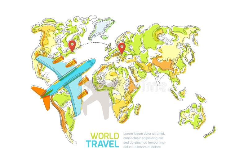 Vectorwereldkaart en vliegend die vliegtuig, op witte achtergrond wordt geïsoleerd Reis rond het wereld en toerisme creatieve con royalty-vrije illustratie