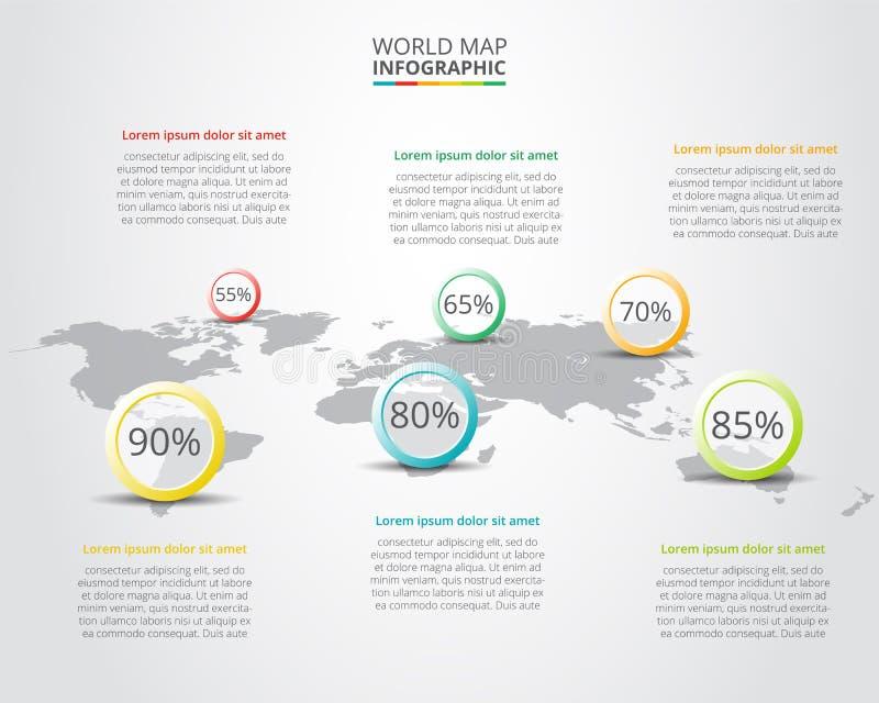 Vectorwereldkaart met infographic elementen royalty-vrije illustratie