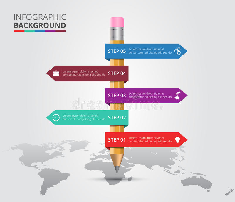 Vectorwereldkaart met potlood voor infographic royalty-vrije illustratie