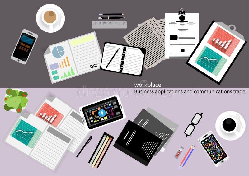 Vectorwerkplaats Bedrijfstoepassingen en communicatie met handelspapier, documenten, dossiers, pennen, potloden, mobiele telefoon royalty-vrije illustratie