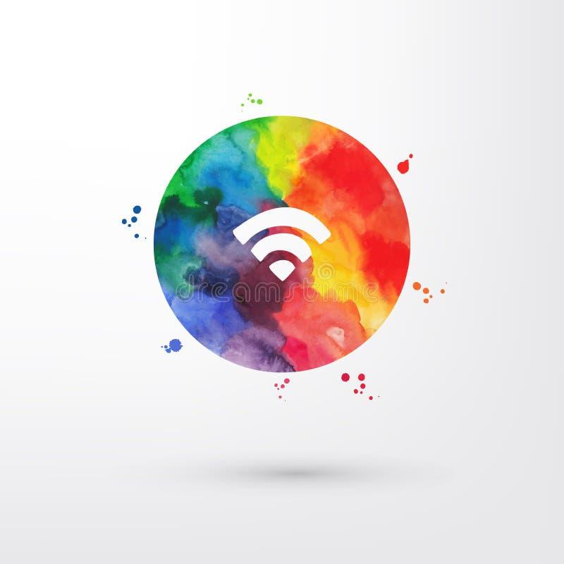 Vectorwifipictogram van de regenboog grungy waterverf binnen cirkel met verfvlekken en vlekken vector illustratie