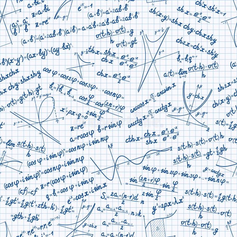 Vectorwiskunde naadloos patroon stock illustratie