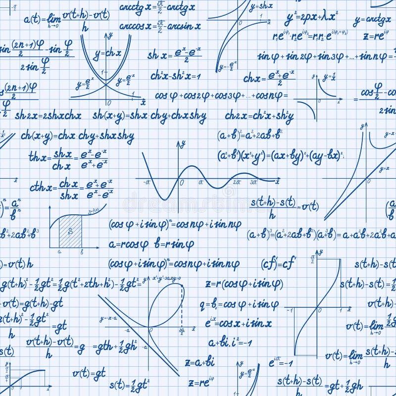 Vectorwiskunde naadloos patroon vector illustratie