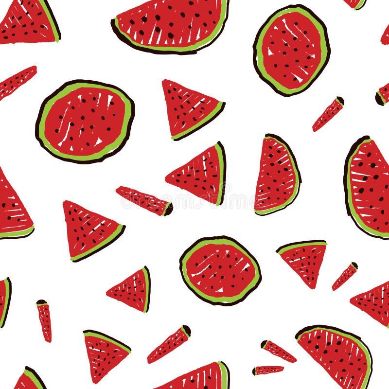 Vectorwit verspreid watermeloen vormt naadloos patroon Ideaal voor stof-, scrapbooking- en behangselprojecten royalty-vrije illustratie