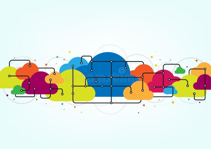 Vectorwolk gegevensverwerkingsnetwerk, Internet-achtergrond van de het concepten de abstracte technologie van de opslagverbinding vector illustratie