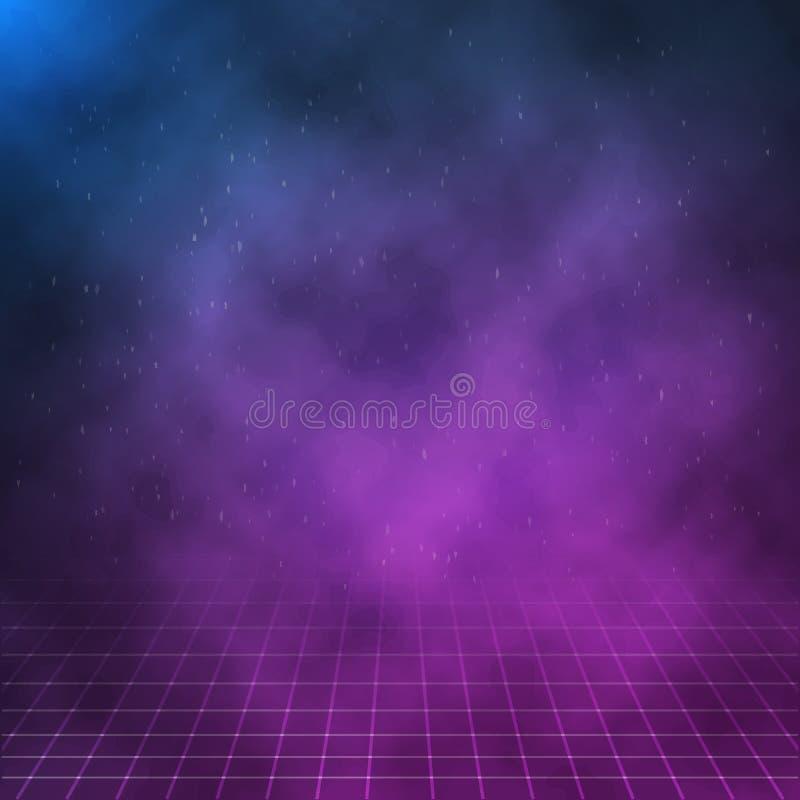 Vectorwolken op Nachtachtergrond Affiche van het de jaren '80 Retro Neon stock illustratie