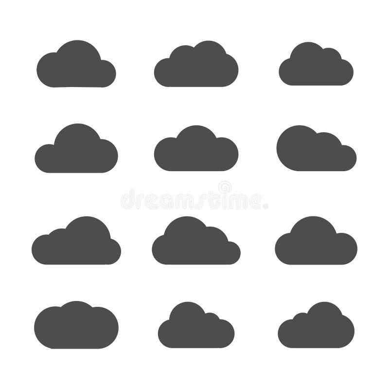 Vectorwolkenpictogrammen op witte achtergrond royalty-vrije illustratie