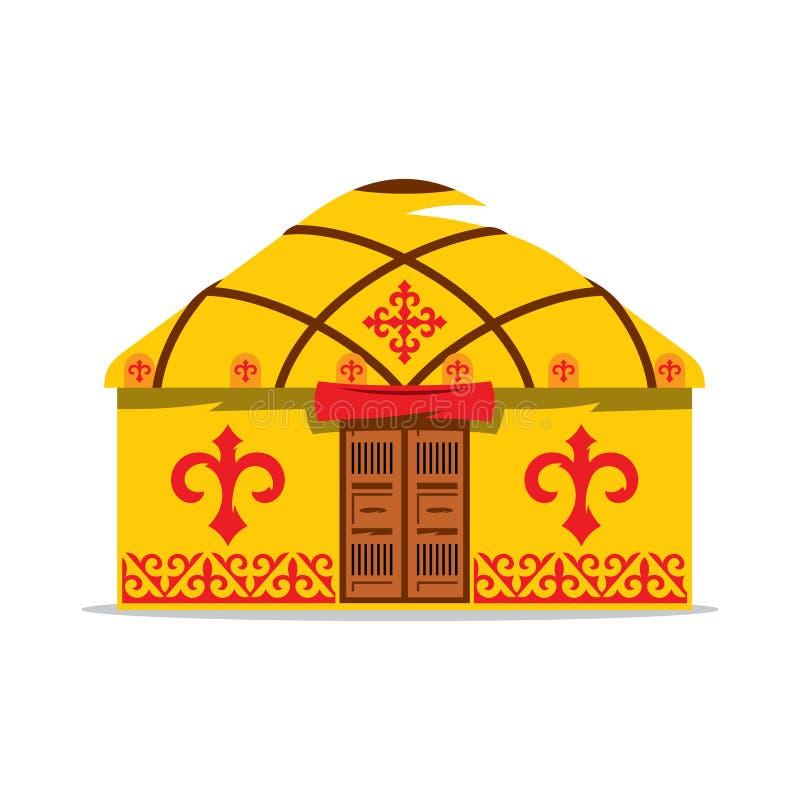 Vectoryurt-Beeldverhaalillustratie Huis van Aziatische nomaden stock illustratie