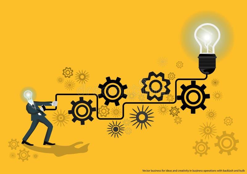 Vectorzaken voor ideeën en creativiteit in bedrijfsverrichtingen met weerslag en bol vlak ontwerp stock illustratie