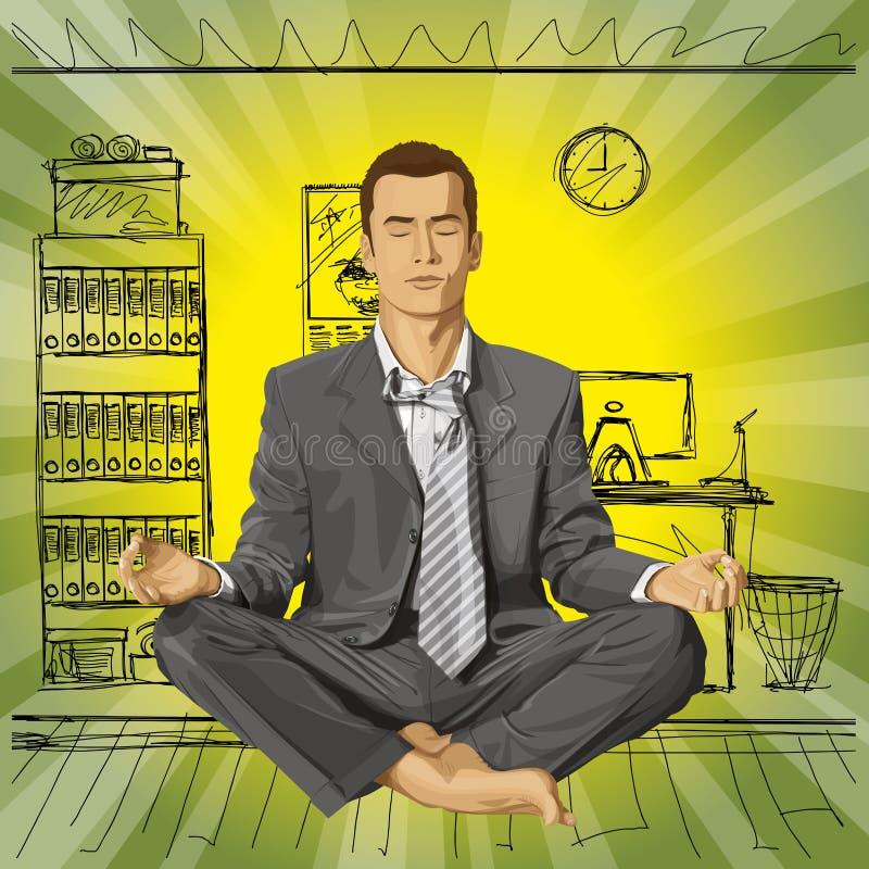 Vectorzakenman in Lotus Pose Meditating stock illustratie