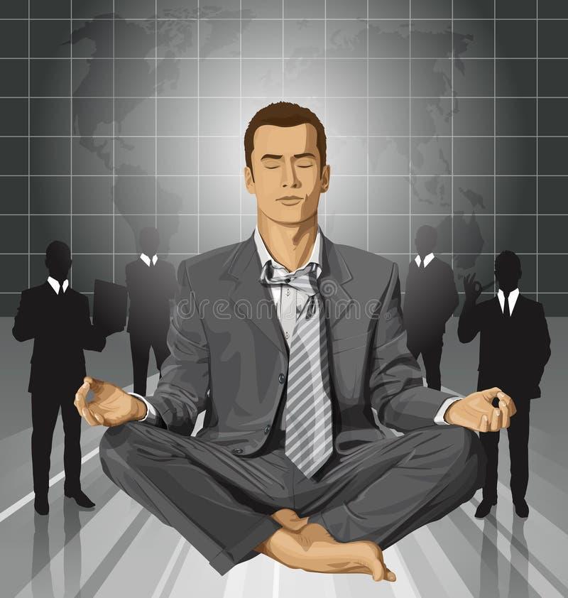 Vectorzakenman in Lotus Pose Meditating vector illustratie