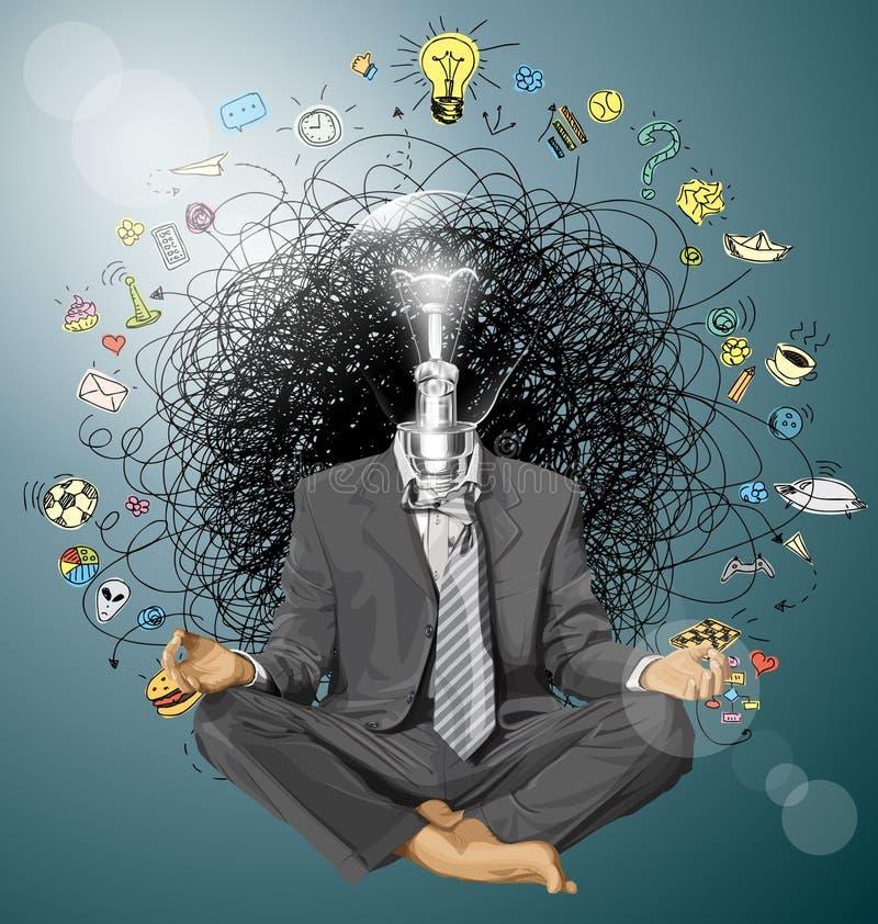 Vectorzakenman in Lotus Pose Meditating royalty-vrije illustratie