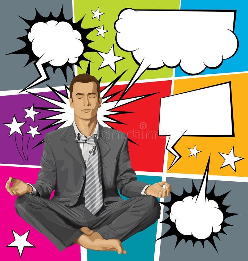 Vectorzakenman in Lotus Pose Meditating With Bubble-Toespraak vector illustratie