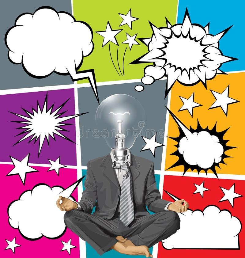 Vectorzakenman in Lotus Pose Meditating With Bubble-Toespraak royalty-vrije illustratie