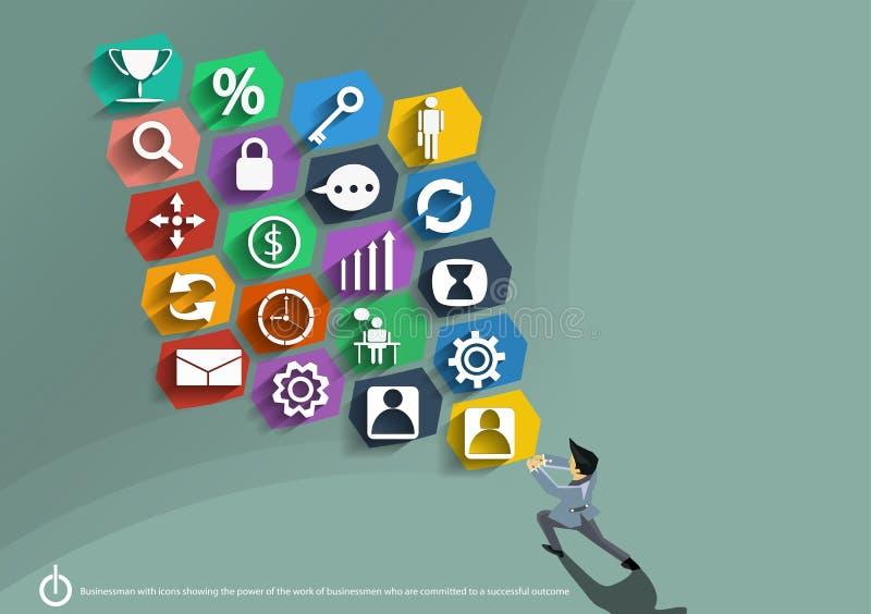 Vectorzakenman met pictogrammen die de macht van het werk van zakenlieden tonen die aan een succesvol resultaten vlak ontwerp geë stock illustratie