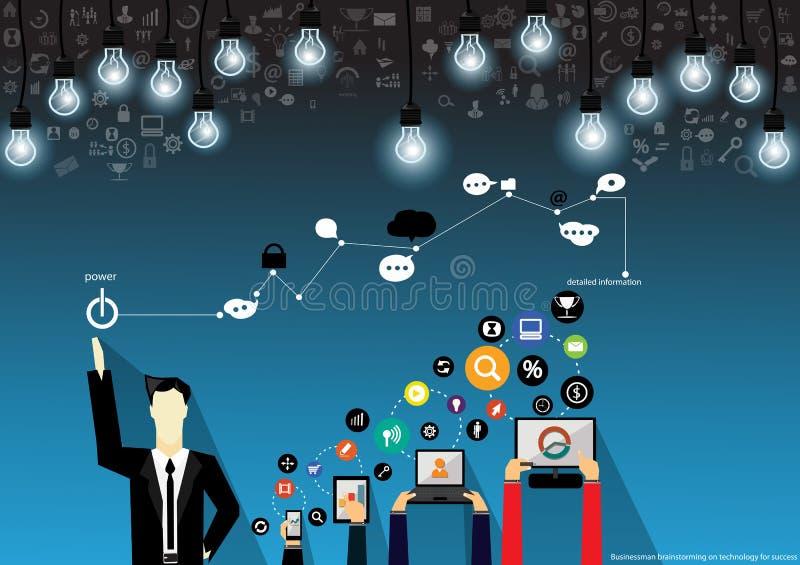 Vectorzakenmanbrainstorming op technologie voor succes met Mobiel, tablet, notitieboekjecomputers, en diverse pictogrammen vlak o royalty-vrije illustratie