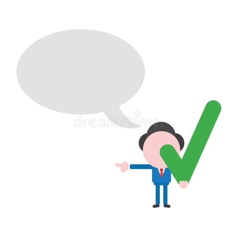 Vectorzakenmankarakter met lege toespraakbel en holdin stock illustratie